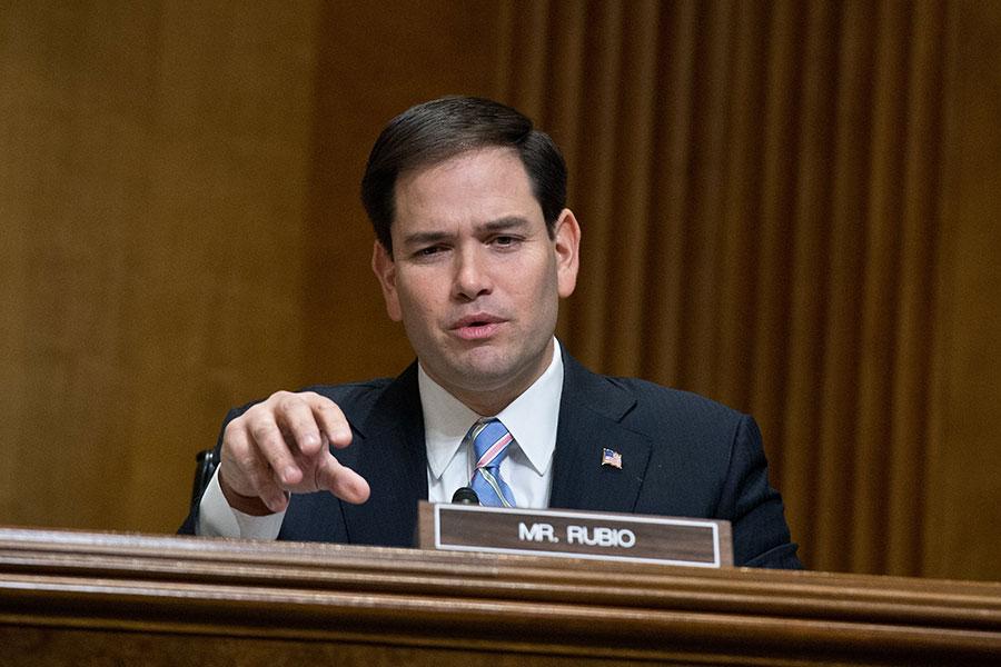 上周五(5月4日),美國參議員魯比奧(Marco Rubio)要求華府智庫威爾遜中心披露它的一個座談會嘉賓跟中共的關係。(NICHOLAS KAMM/AFP/Getty Images)