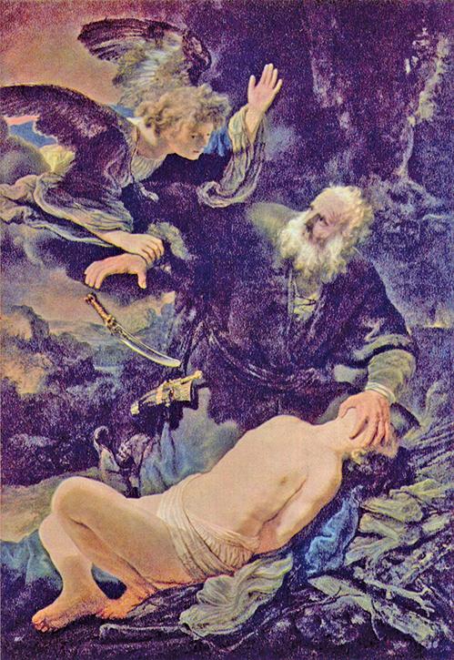 《獻上以撒》林布蘭特,1635年。(公有領域)
