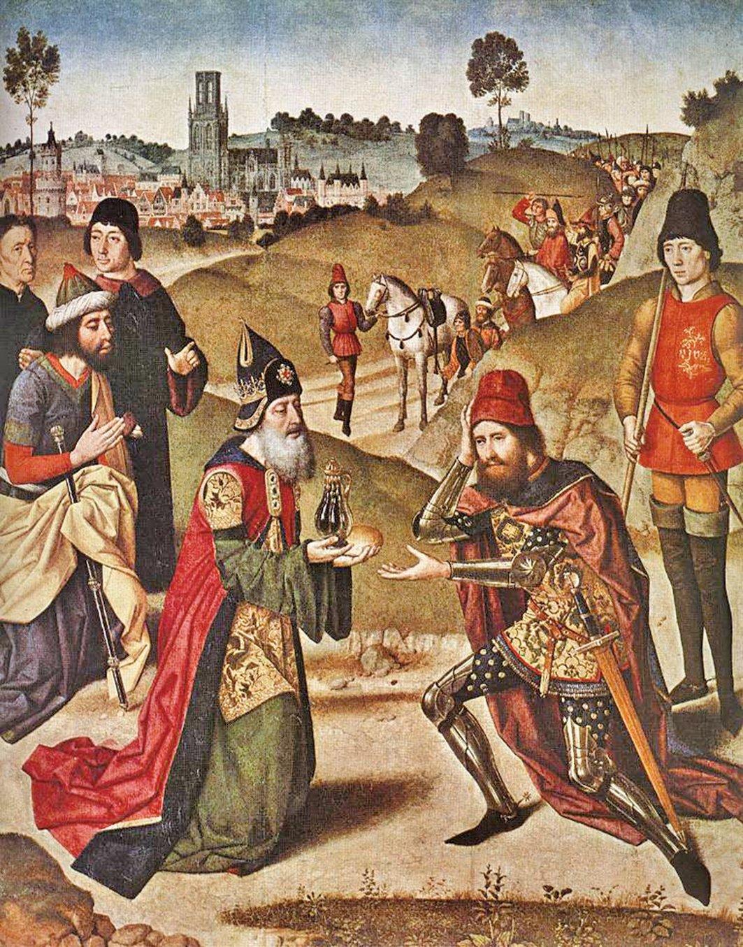《撒冷王麥基洗德迎接亞伯拉罕》Meeting of Abraham and Melchizedek,Dierick Bouts,15世紀。(公有領域)