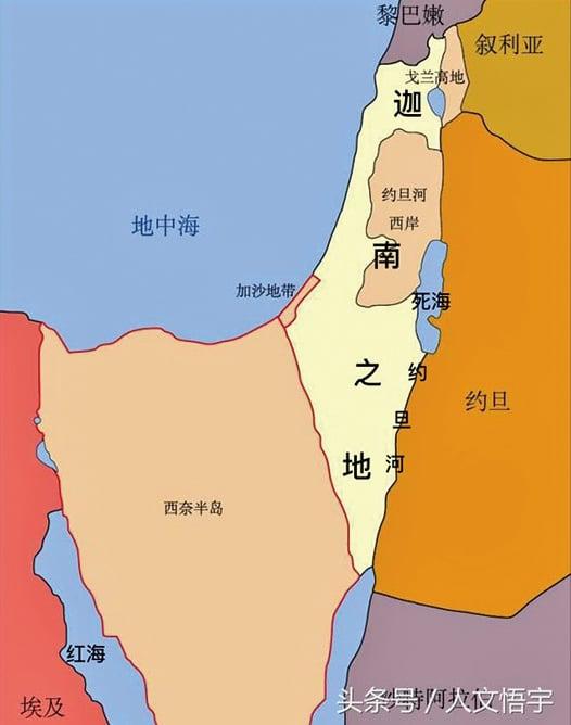 迦南地界於地中海和約旦河之間,南北界於埃及西奈半島東北與亞蘭之間,亞蘭即是現在的敘利亞和黎巴嫩的一部份。(公有領域)