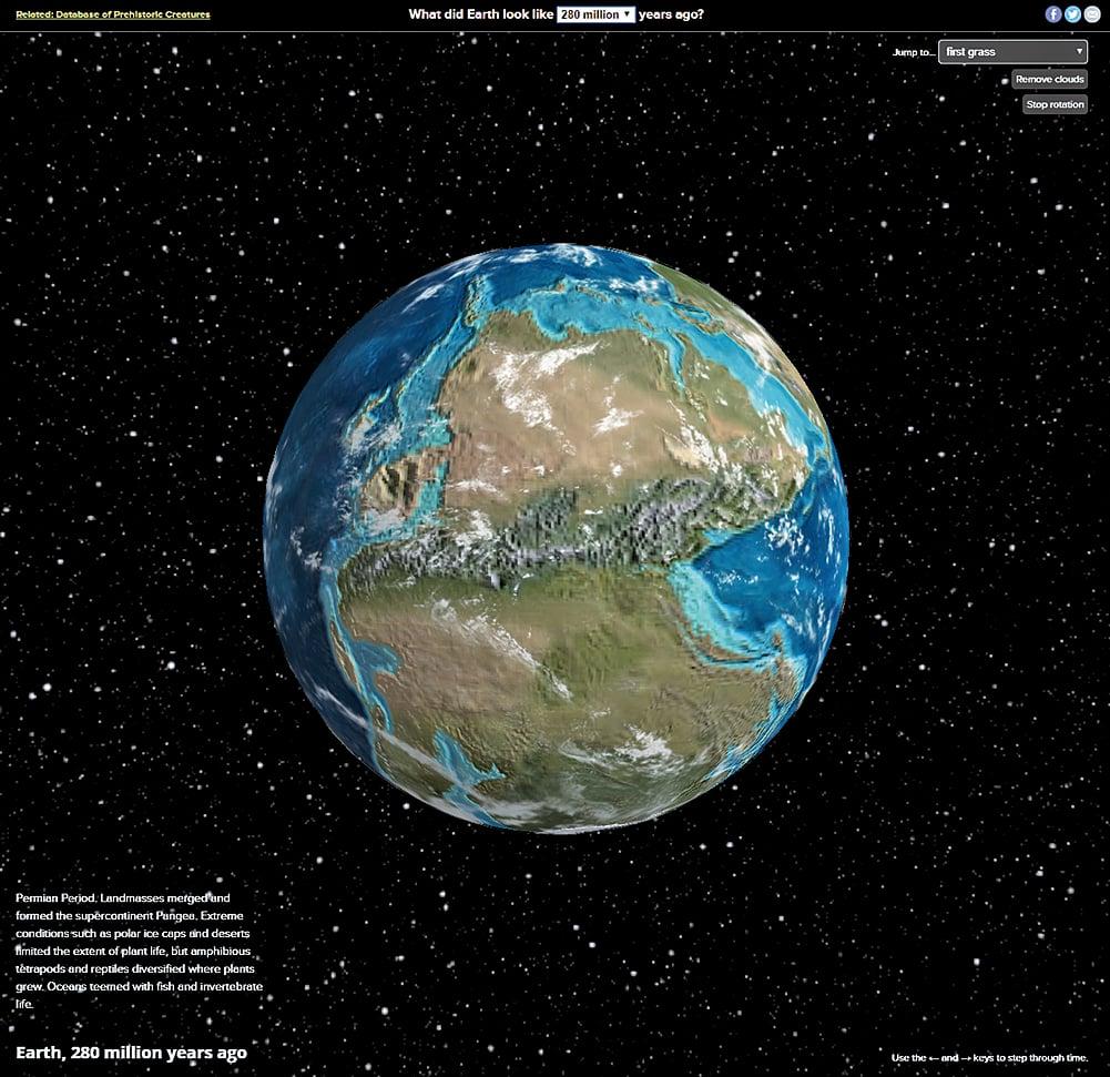 互動式地圖Ancient Earth Globe呈現地球6億年來的巨大變化。圖為盤古大陸,在大約2億8,000萬年前形成。(Ancient Earth Globe網頁擷圖)