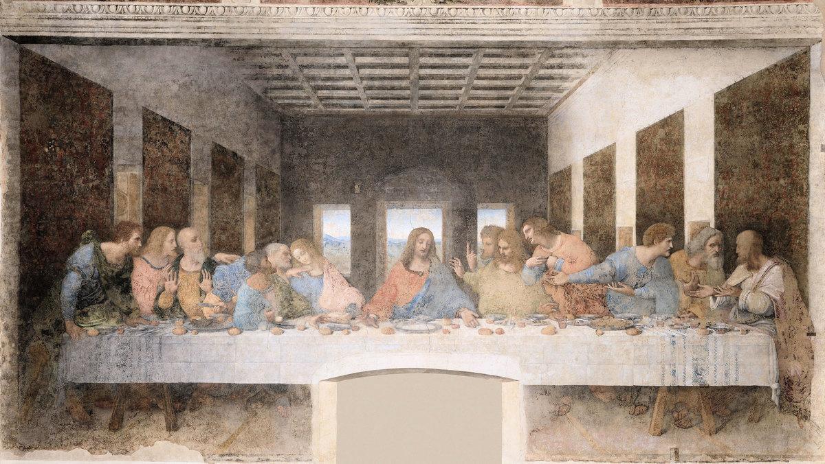 《最後的晚餐》(Last Supper),公元1498年,收藏於意大利米蘭一處天主教建築「恩寵聖母」內。(公有領域)