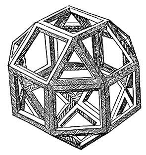 達文西繪的菱方八面體(rhombicuboctahedron),公元1509年出現在盧卡•帕西奧利的《神聖比例》(Divina Proportione)中。(公有領域)