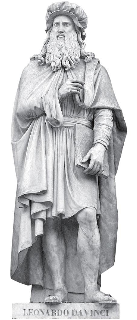 意大利佛羅倫斯烏菲茲美術館外的達芬奇雕像。 (公有領域)