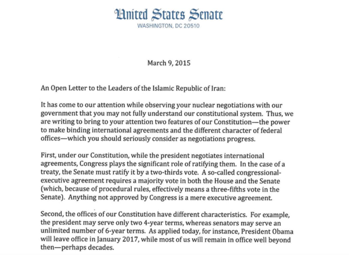 2015年3月,美國國會共和黨議員發給伊朗領導人的公開信。(信件擷圖)