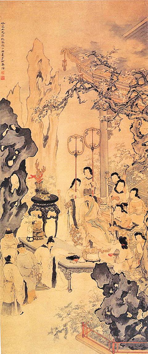 《李白作清平調圖》,取自清蘇六朋繪《清平調圖》,廣州美術館藏(公有領域)