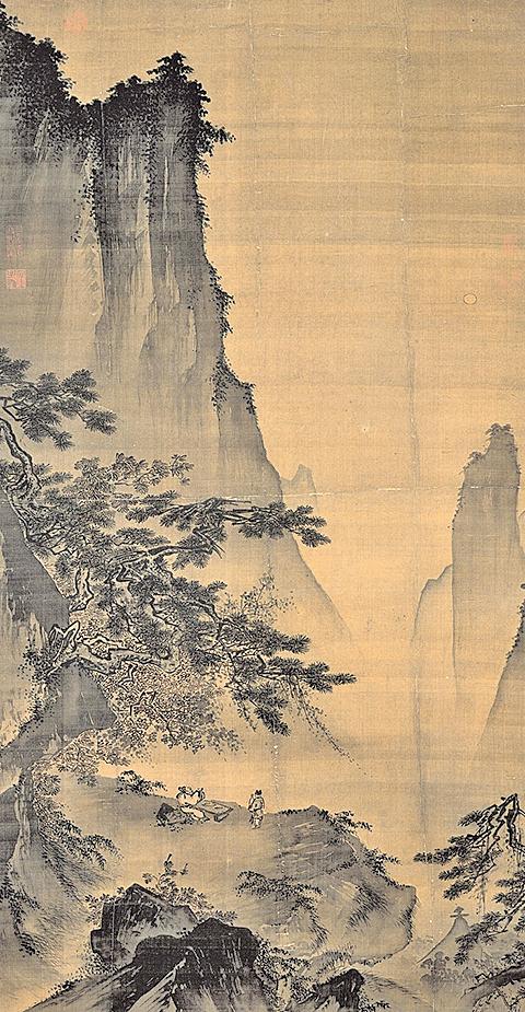 明人繪(舊傳南宋馬遠)《對月圖》軸,詮釋李白《月下獨酌》中「舉杯邀明月,對影成三人」的詩意 台北故宮博物院藏品(公有領域)