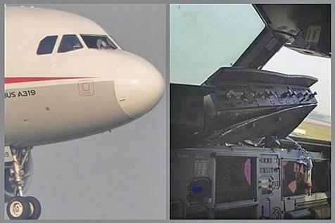 網友上傳的照片顯示,該航班備降前駕駛艙右側擋風玻璃已消失。(微信圖片)