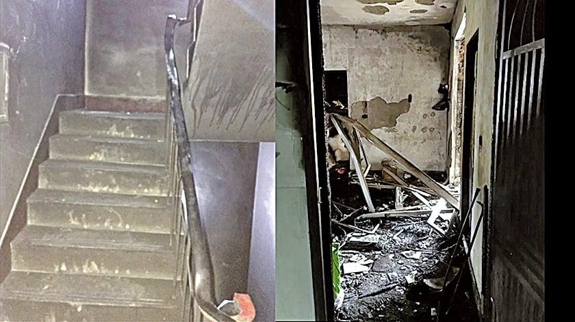 當時,樓梯間濃煙滾滾,大量濃煙竄入室內。(視頻截圖)