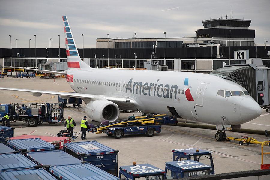 圖為美國航空一架客機。(Scott Olson/Getty Images)