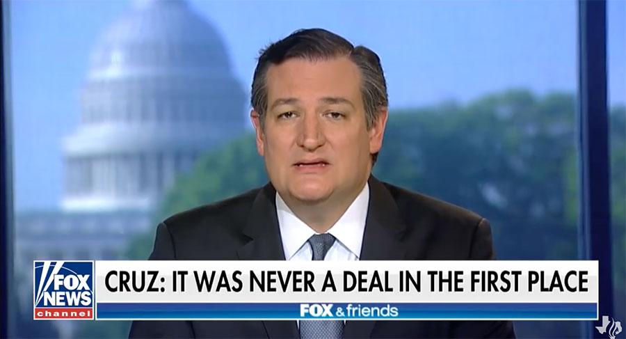 美國參議員克鲁兹在霍士新聞採訪中說,在某種程度上伊朗核協議「確保了伊朗獲得核武器」。(視像擷圖)