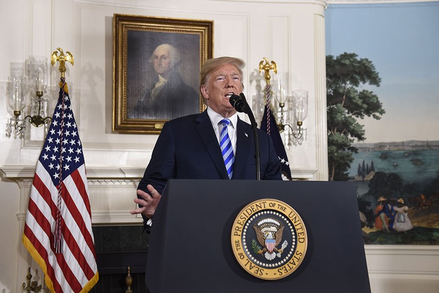 5月8日,特朗普總統宣佈退出伊朗核協議。(SAUL LOEB/AFP/Getty Images)