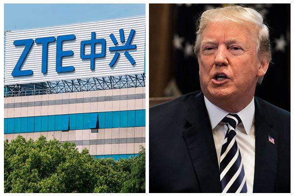 特朗普總統13日發帖說,其與中國領導人習近平將一起努力讓中興通訊「儘快恢復業務」。(JOHANNES EISELE, SAUL LOEB/AFP/Getty Images/大紀元合成)