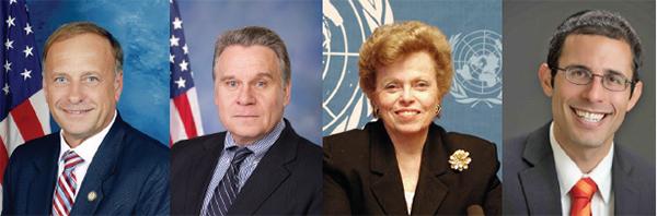 (左起)資深眾議員金(Steve King)、美國國會及行政當局中國委員會(CECC)主席史密斯(Chris Smith)、美國國務院前助理國務卿紹爾布賴(Ellen Sauerbrey)、美國國際宗教自由委員會(USCIRF)主席馬克(Daniel Mark)致信支持三億中國人退出中共。(網絡圖片)