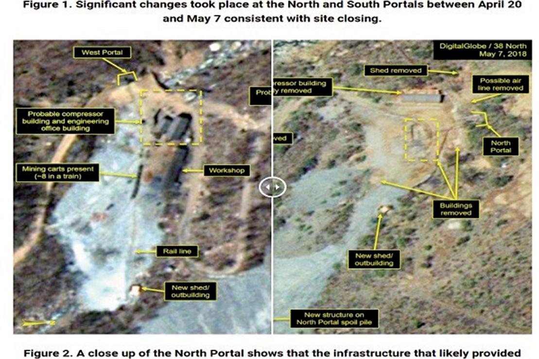 2018年5月7日,「三八線北」拍攝的衛星影像顯示,豐溪里核試驗場建築已部份拆除。(38 North網站截圖)