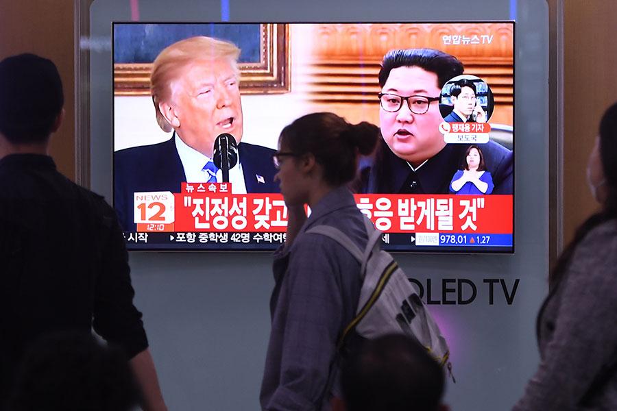 韓媒報道,因美韓軍演,北韓宣佈取消與南韓的高層峰會,並威脅取消特金會。(JUNG YEON-JE/AFP/Getty Images)