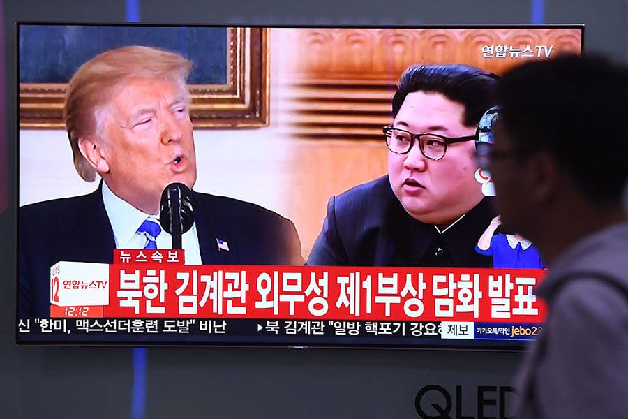 北韓突發威脅,讓原計劃在6月12日舉行的特金會增添變數。(JUNG YEON-JE/AFP/Getty Images)