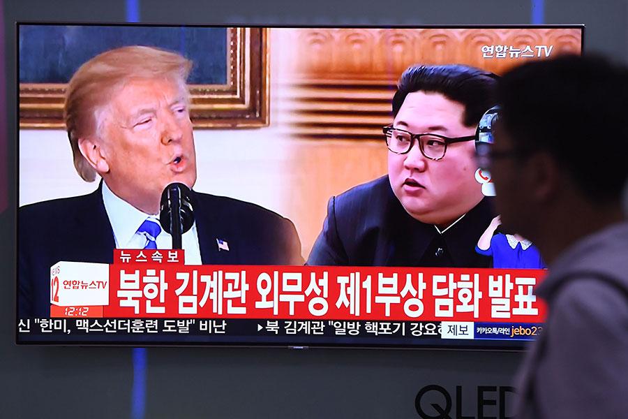 原定於6月12日的美朝歷史性峰會存在的變數增加。(JUNG YEON-JE/AFP/Getty Images)