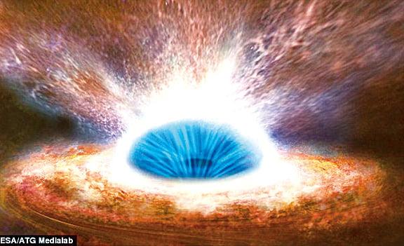星系中心的黑洞模式圖。(ESA/ATG Medialab)