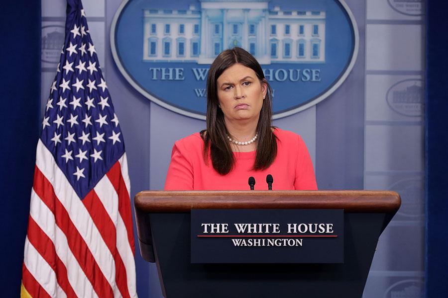 白宮新聞發言人桑德斯昨天(5月16日)在白宮對記者表示,在北韓官方沒有正式取消特金會之前,美國各方面都在按照原定計劃進行。圖為資料圖片。(Chip Somodevilla/Getty Images)