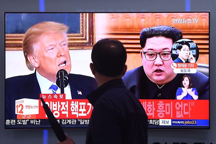 5月15日,北韓以美韓聯合軍演為由,要脅取消特金會。(JUNG YEON-JE/AFP/Getty Images)