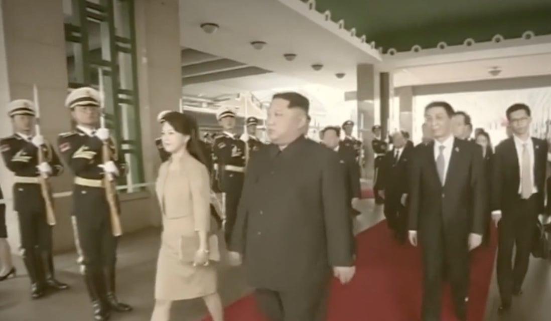 圖為金正恩3月26日首次訪華抵達北京時的情景。(視像擷圖)