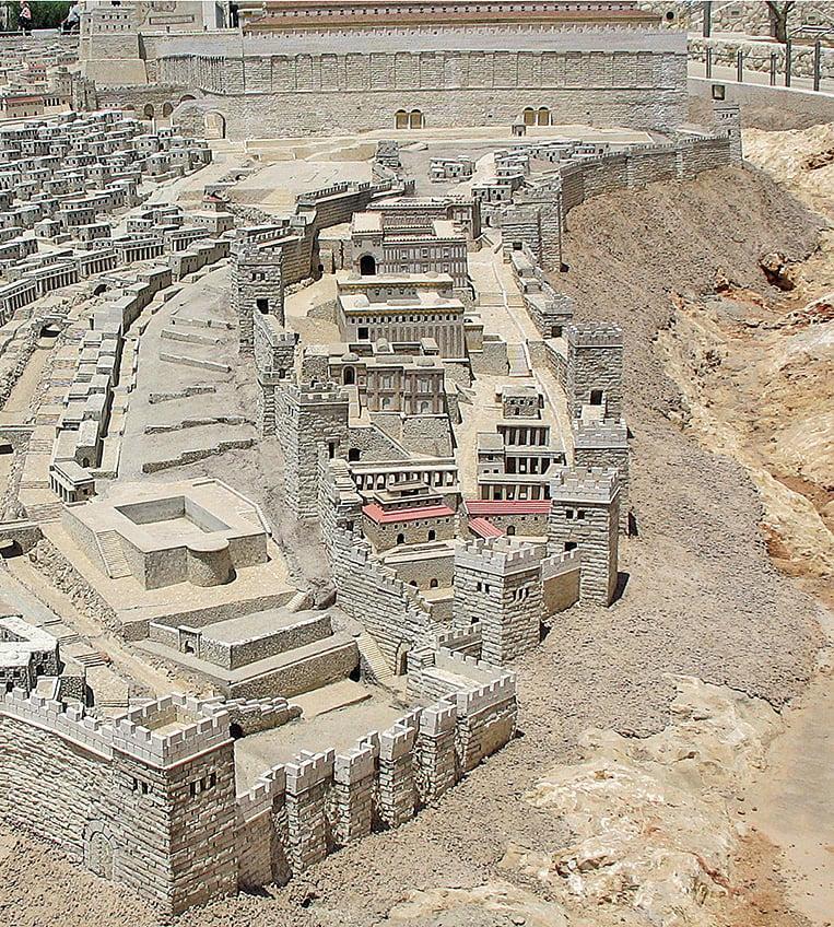 大衛之城復原模型。聖殿山在圖的上方。(Ariely/Wikimedia Commons)
