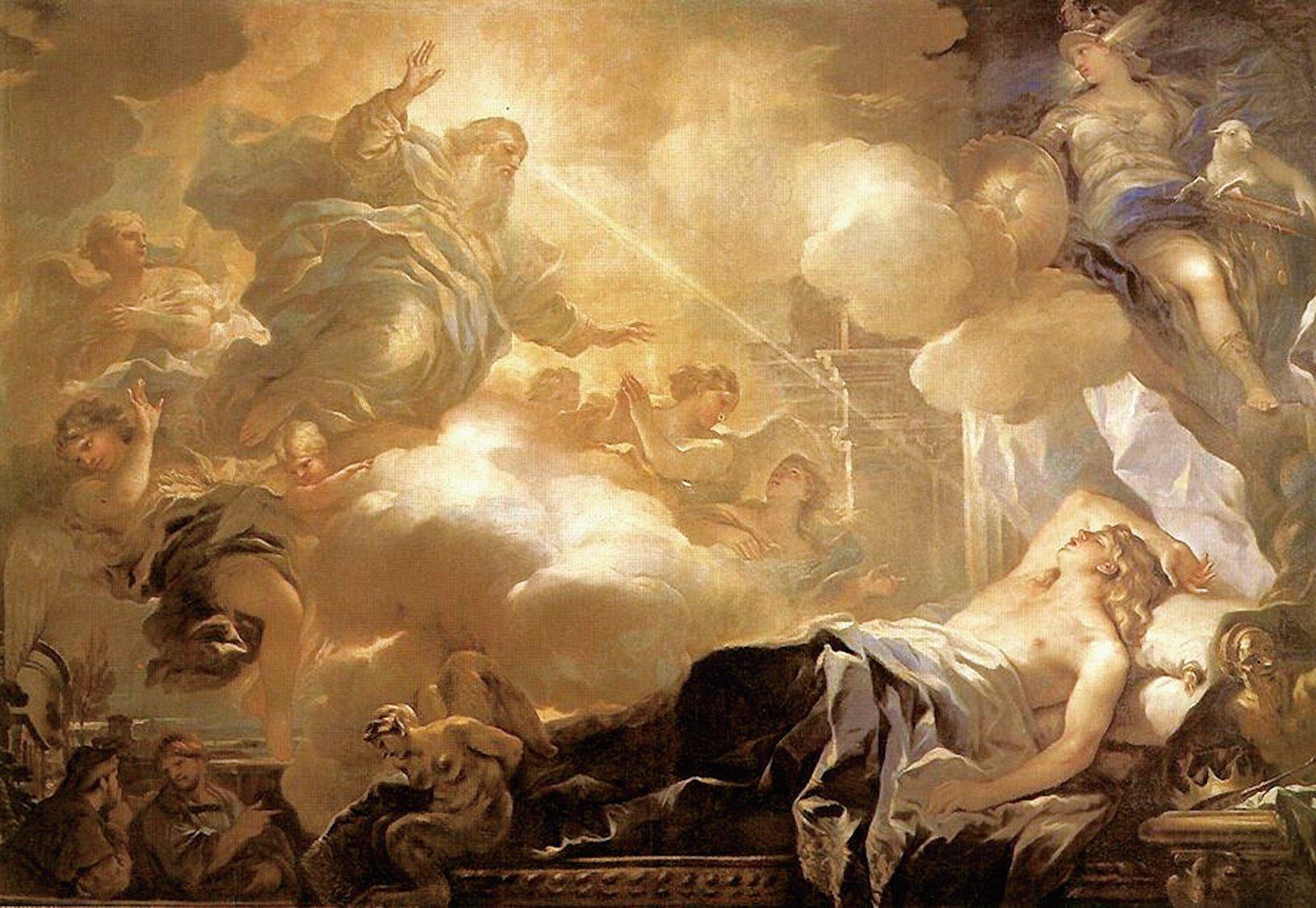 所羅門之夢:上帝應許所羅門智慧,Luca Giordano畫作。(公有領域)