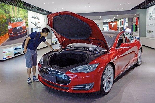電動汽車沒有傳統的引擎,所以幾乎不會發出任何噪音。(WANG ZHAO/AFP/Getty Images)