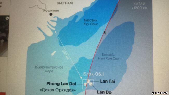 圖為俄羅斯媒體發表的羅斯石油公司在南海所控制的06.1區塊和三個天然氣田示意圖,紅線是中方的九段線。5月15日開始鑽井的紅蘭花(Lan Do)和目前正在開採的另一個天然氣田都位於九段線內。(白樺/美國之音)