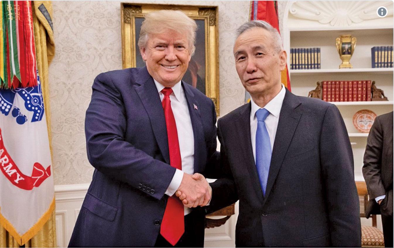 特朗普會見中方貿易代表、習近平特使劉鶴。(特朗普推特截圖)