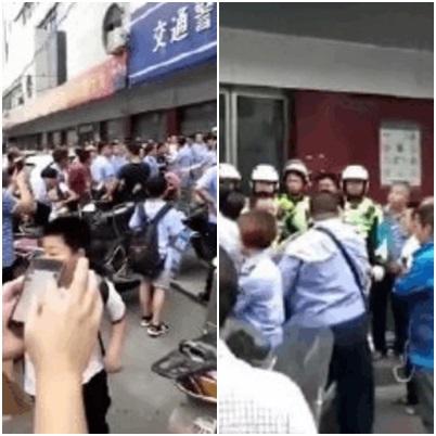5月22日傍晚,湖南耒陽交警與城管爆衝突。(視像擷圖)