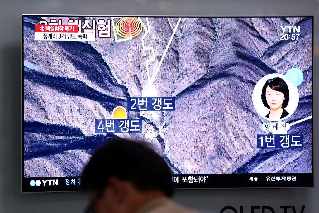 5月24日,北韓對豐溪里核試驗場進行了爆破拆除,但並沒有邀請任何國際核子專家到現場檢測。(Chung Sung-Jun/Getty Images)
