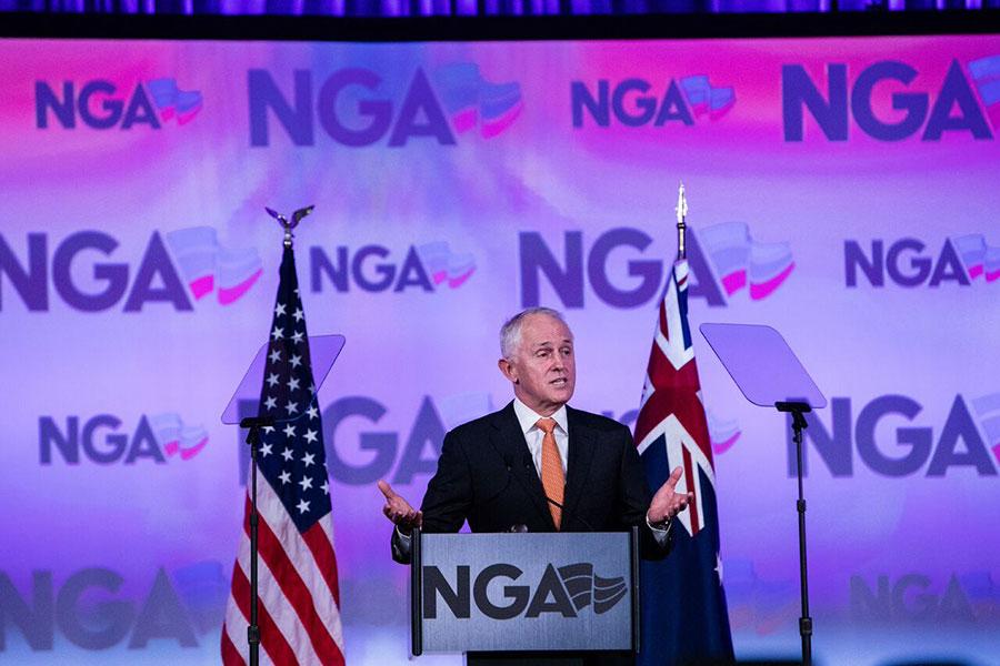 圖為澳洲總理特恩布爾在全美州長冬季年會上演講。(NGA)