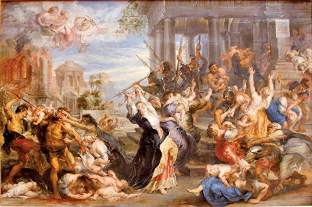 《屠殺無辜》描繪希律王屠殺無辜幼童,魯本斯,1638年。(公有領域)