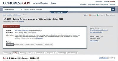 美國國會網站顯示,共和黨眾議院議員培根(Don Bacon)5月7日提出《台灣國防評估委員會法》,希望能提升台灣的自我防衛能力。(截取自美國國會網站)
