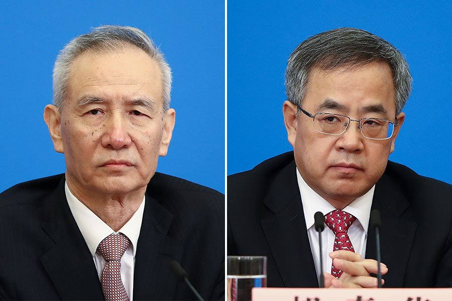 中共兩會產生的四名副總理,到目前為止他們的分工仍不明朗,尤其是副總理劉鶴(左)與胡春華(右)擔負的角色更是令外界困惑,有傳媒質疑他倆互為AB角。(Lintao Zhang/Getty Images/大紀元合成)