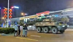 上合青島峰會 大批軍車進城