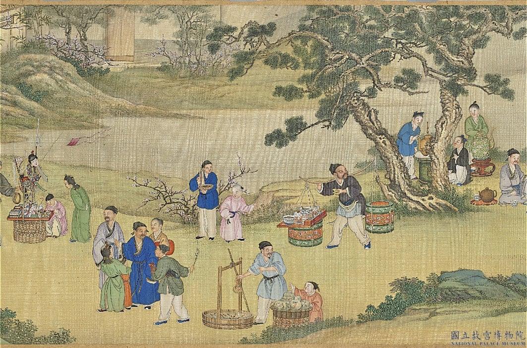 圖為清 丁觀鵬《太平春市圖》局部,台北國立故宮博物院藏。(公有領域)