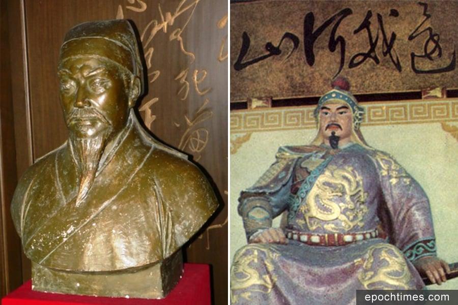 文天祥(左)及岳飛雕像。(維基百科/大紀元合成)