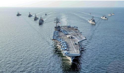 太平洋司令部易名,被視為抗衡中共在海上影響力的舉動。圖為美國核動力航母列根號戰鬥群。(美國海軍)