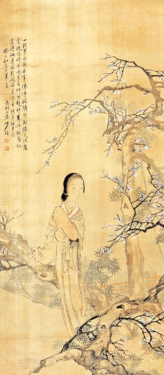 清 沙馥〈梨花仕女圖〉(公有領域)