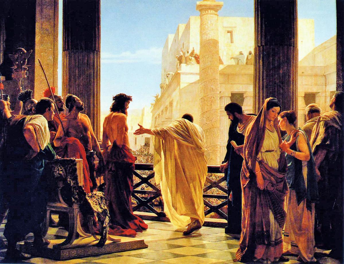 《瞧,這個人》彼拉多詢問猶太人是否釋放耶穌,Antonio Ciseri。(公有領域)