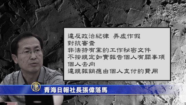 6月4日,青海省紀委監委消息,青海日報社前黨組書記、社長張偉「嚴重違紀違法」被審查和監察調查。(視像擷圖)