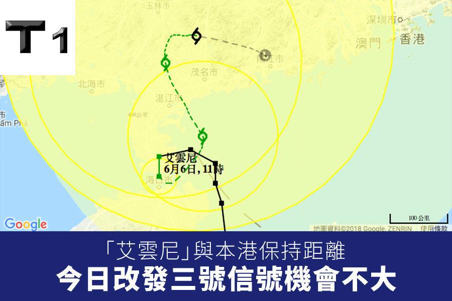 「艾雲尼」與本港保持距離 今日改發三號信號機會不大