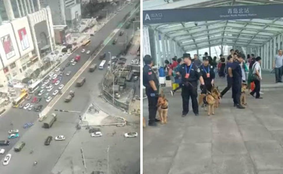 軍車進城,警犬助陣。(視像擷圖合成)