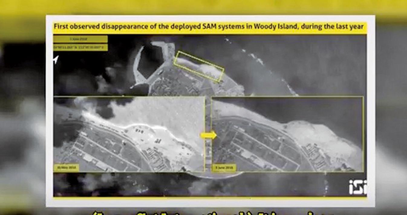 最新衛星圖像顯示,中共或已經悄悄拆除了在南海島礁上部署的反艦導彈與地對空導彈系統。(影片截圖)