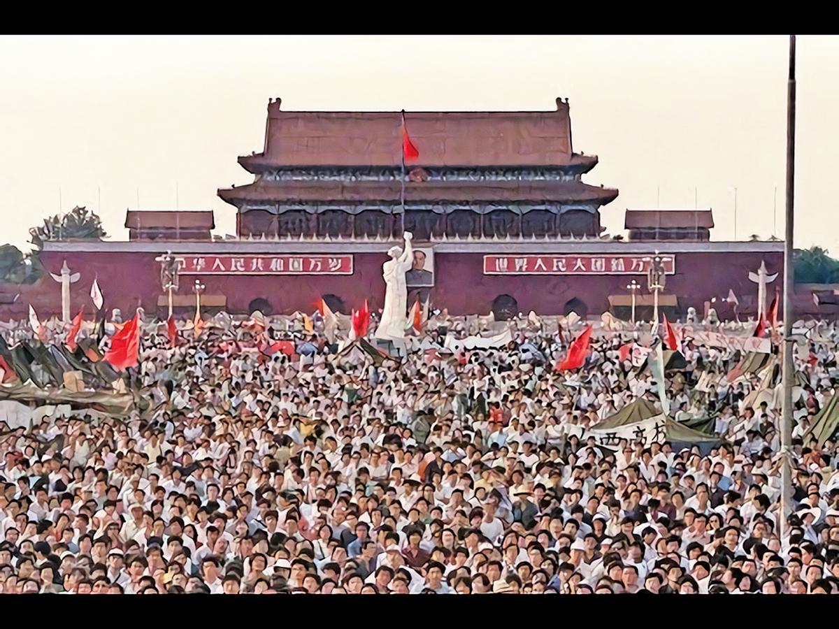 1989年北京天安門廣場的學生集會。(AFP)