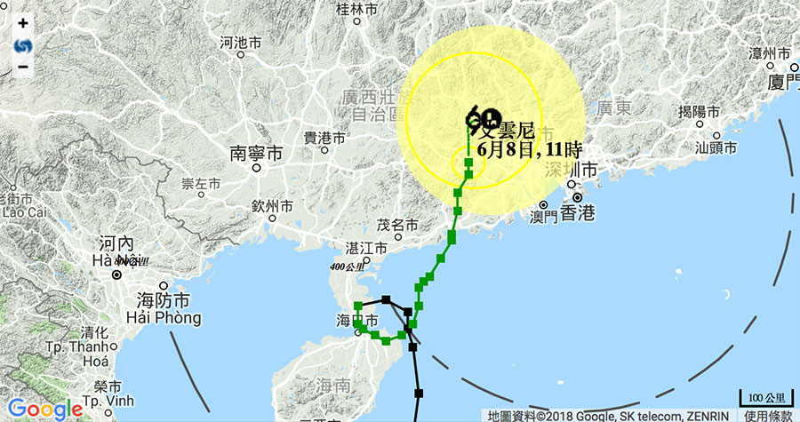 天文台在今日中午12時40分發出三號強風信號,預料三號強風信號仍會在今晚維持。(香港天文台)