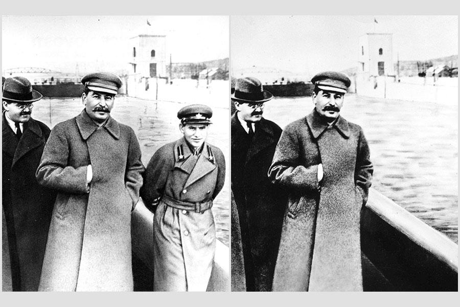 一張於20世紀30年代中期拍的照片顯示,蘇共秘密警察首腦葉若夫正在與史太林同行(左圖);1940年葉若夫被處決後,蘇聯檢查員隨即把照片修改,移除了他,葉若夫因此變成了「非人」。(AFP/Getty Images/大紀元合成)